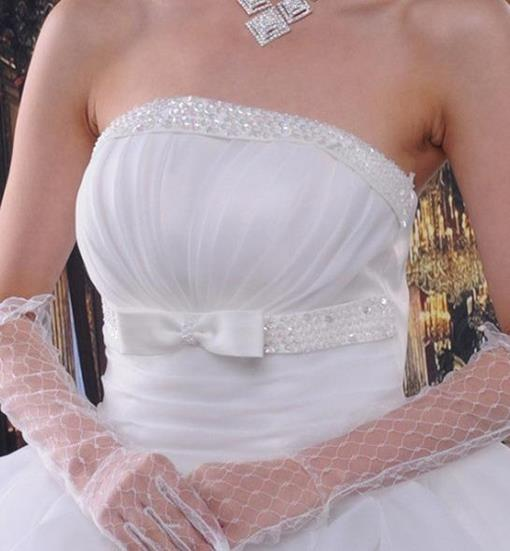 White Fingerless Elbow Length Net Gloves