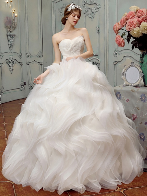 Strapless Appliques Ball Gown Ruffles Wedding Dress