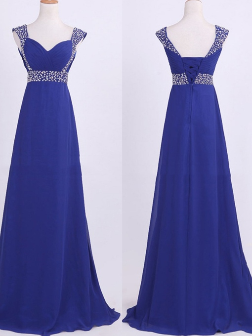 Beaded Empire Waist Pleats Lace-Up Bridesmaid Dress
