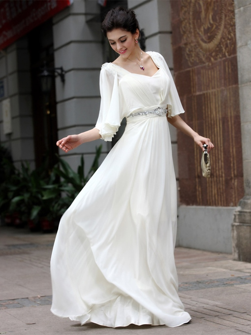 A-Line Floor-Length V-Neck Half Sleeve Evening Dress