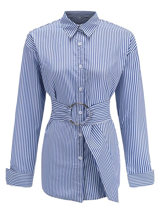 Casual Stripe Print Women's Blouse With Belt