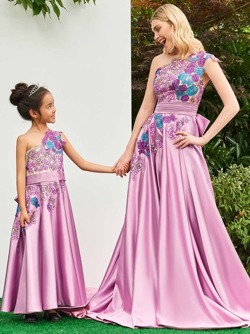 One Shoulder Appliques A-Line Flower Girl Dress