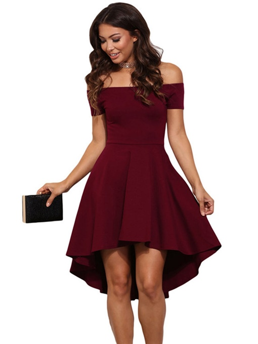 Off Shoulder Asym Women's Day Dress