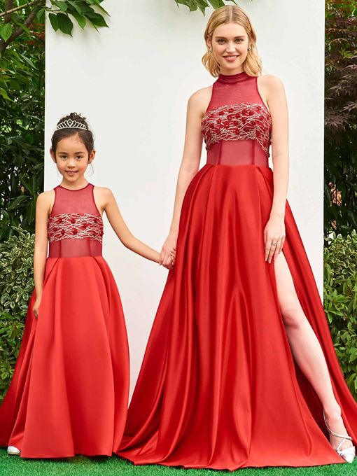 Scoop Neck Sleeves A-Line Red Flower Girl Dress
