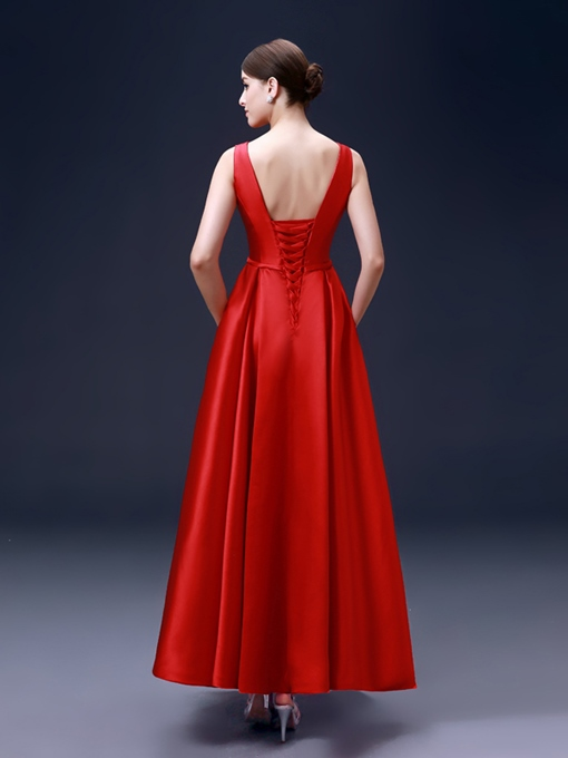 A-Line Ankle-Length Lace-Up Evening Dress
