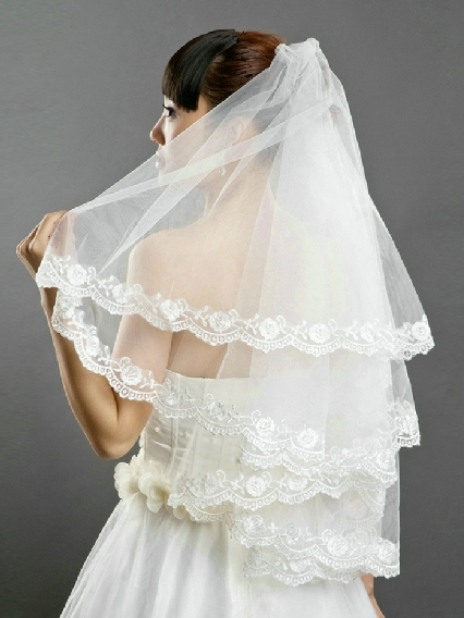 Floral Edge Wedding Bridal Veil
