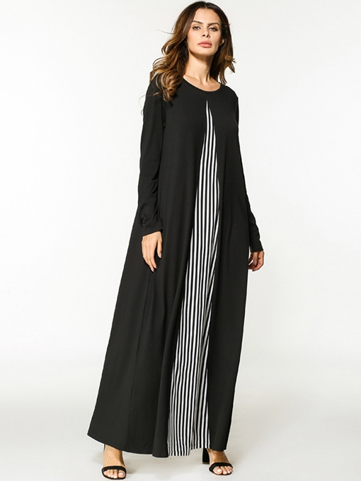 Double-Layered Striped Long Sleeve Maxi Dress
