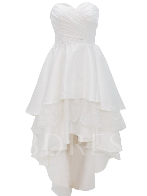 Image of Sweetheart Neckline Tiered Lace Short Beach Wedding Dress