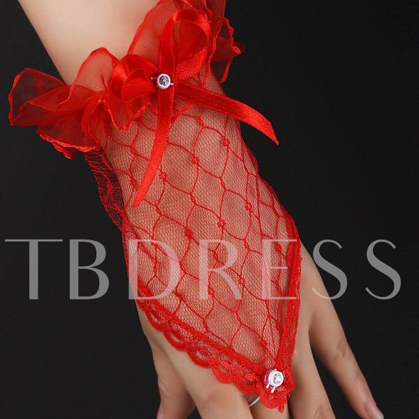 Red Transparent Fingerless Elbow Short Gloves