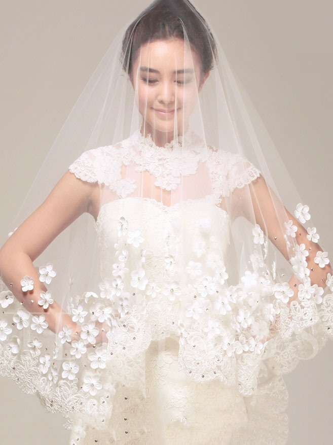 Princess Style Lace Appliques Wedding Veil