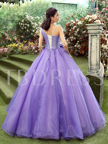 Lace Ball Gown Appliques Ball Gown Beaded Floor-Length Quinceanera Dress