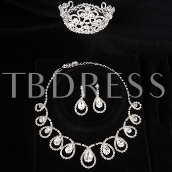Waterdrop Shaped Wedding Bridal Jewelry Set (Including Tiara,Necklace and Earrings)