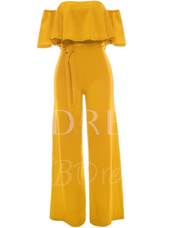 Asymmetrical Falbala Wide Legs Boat Neck Women's Jumpsuits