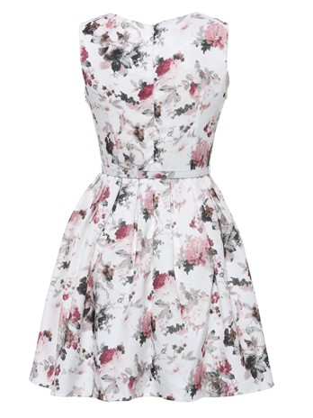 Round Neck Floral Above Knee A-Line Dress