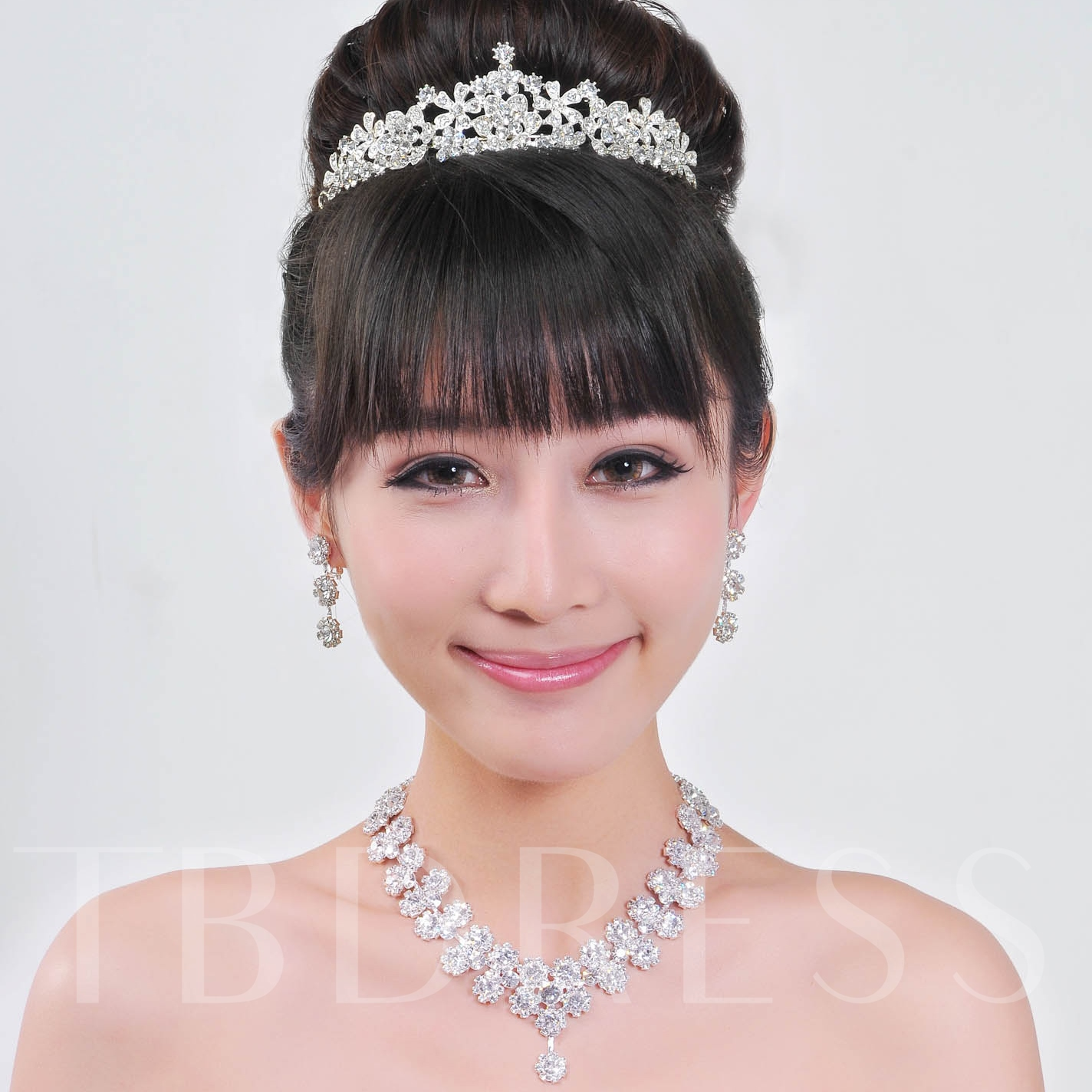 Flower Shaped Wedding Jewelry Set Alloy with Rhinestone
