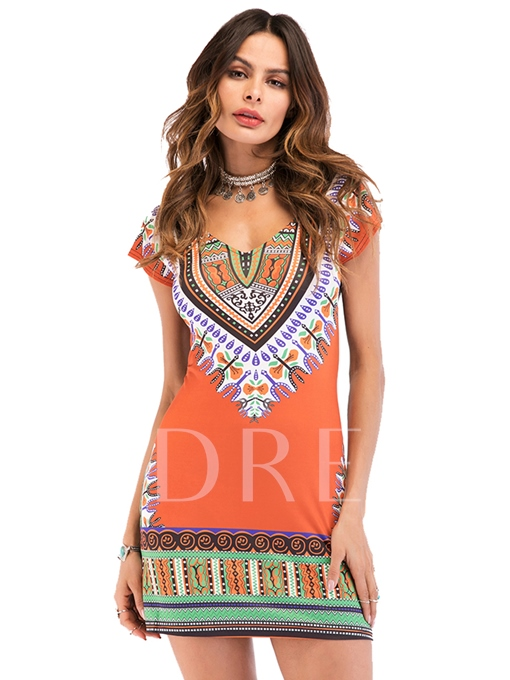 Orange Short Sleeve Printing Women's Party Dress