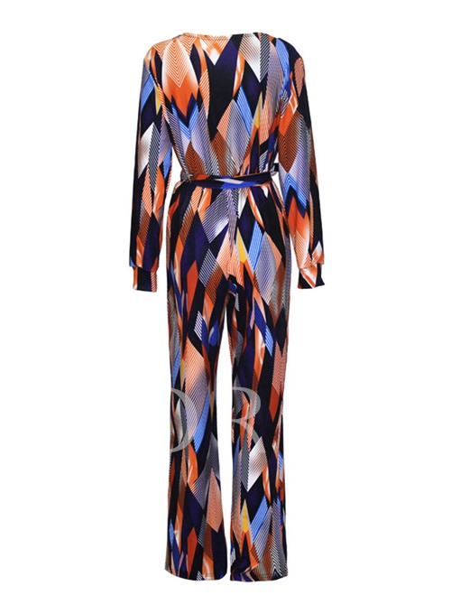 High-Waist Lace-Up Printing Full Length Women's Jumpsuit