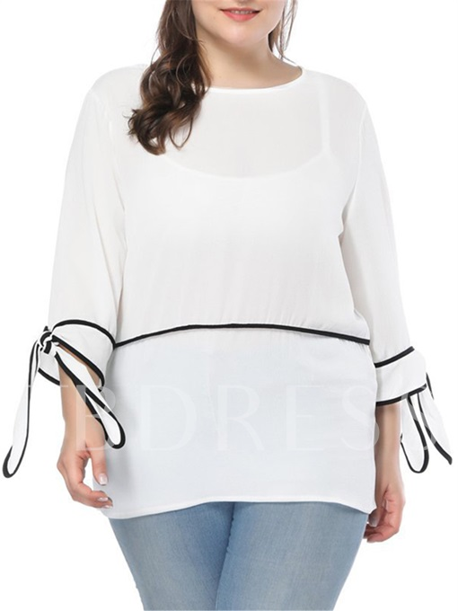 Plus Size Self Tie Sleeve Women's Blouse
