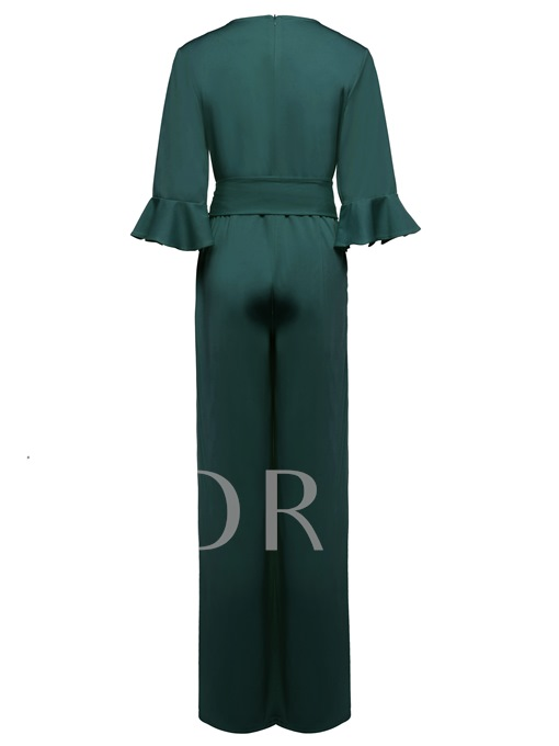 Falbala Lace-Up Wide Legs Women's Jumpsuits