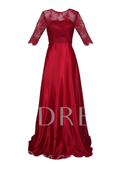 Scoop Neck Half Sleeves Lace A Line Evening Dress