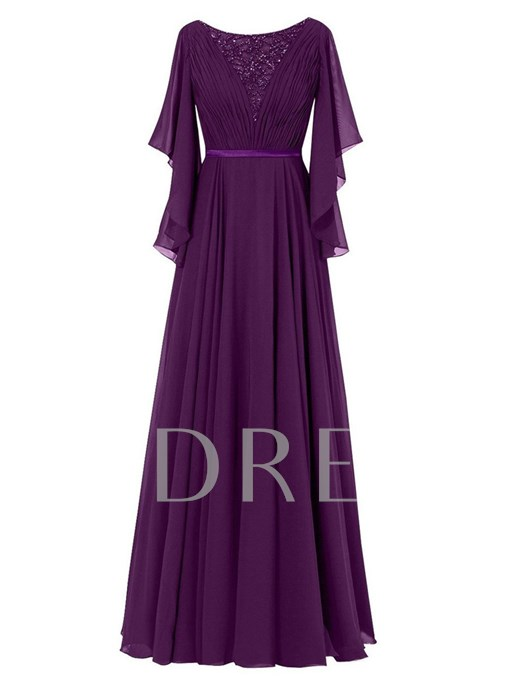 Beading Pleats Mother of the Bride Dress with Sleeve