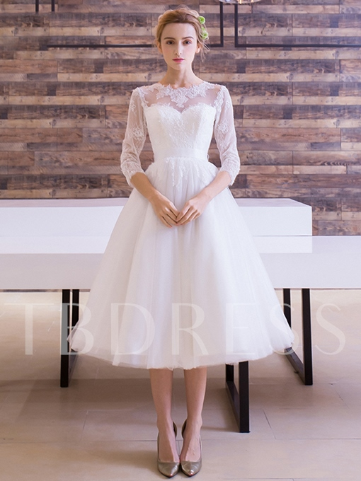 Half Sleeve Lace Knee-Length Beach Wedding Dress