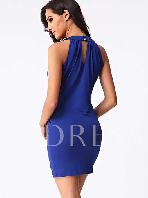 Plain Sleeveless Chain Decorated Women's Sheath Dress