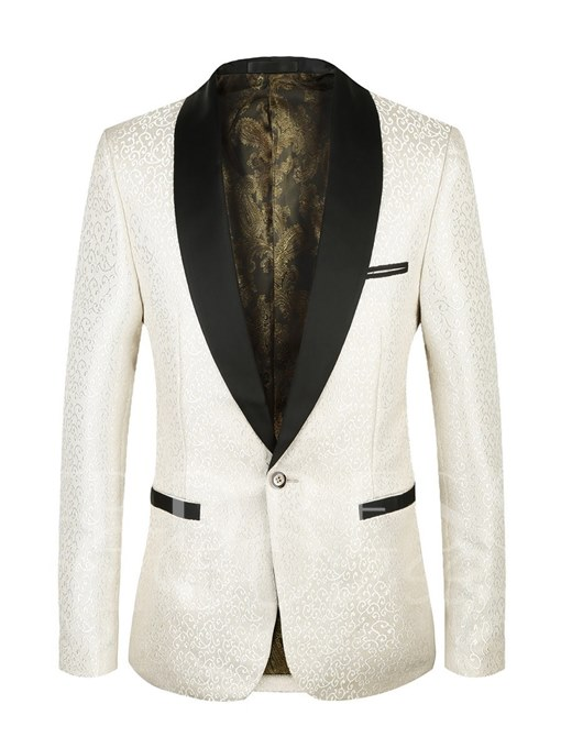 Notched Collar One Button Patchwork Slim Casual Men's Blazer