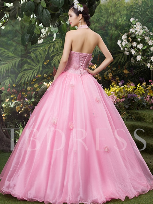 Halter Rhinestone Beading Flowers Sequins Quinceanera Dress