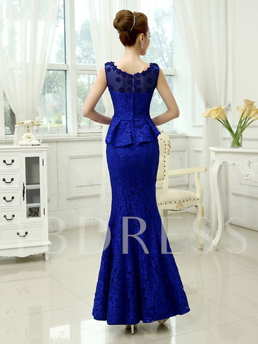 Mermaid Round Neck Lace Beading Flower Evening Dress