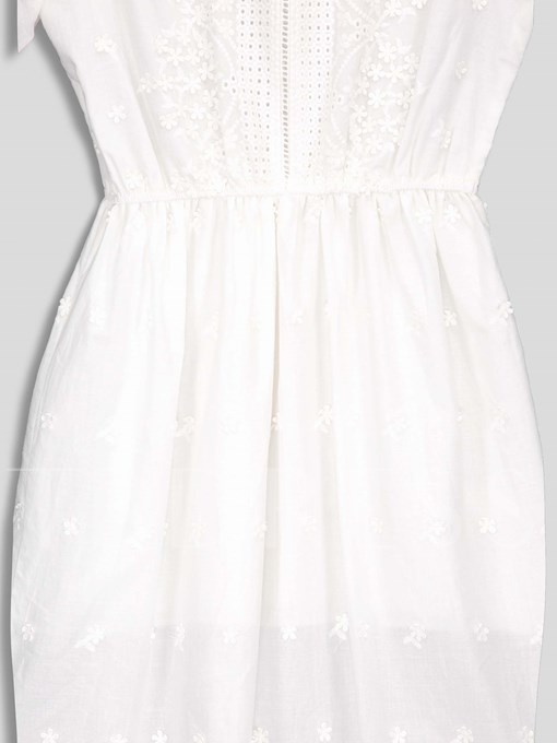Mesh Lace Round Neck A-Line Dress
