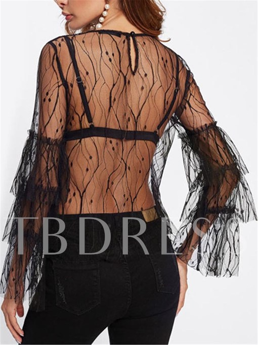 Flare Sleeve See-Through Women's Blouse