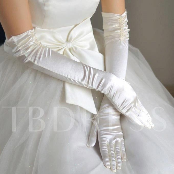 Elbow Length Pearl Satin Long Gloves