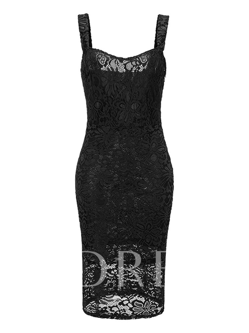 Strappy Backless Women's Lace Dress