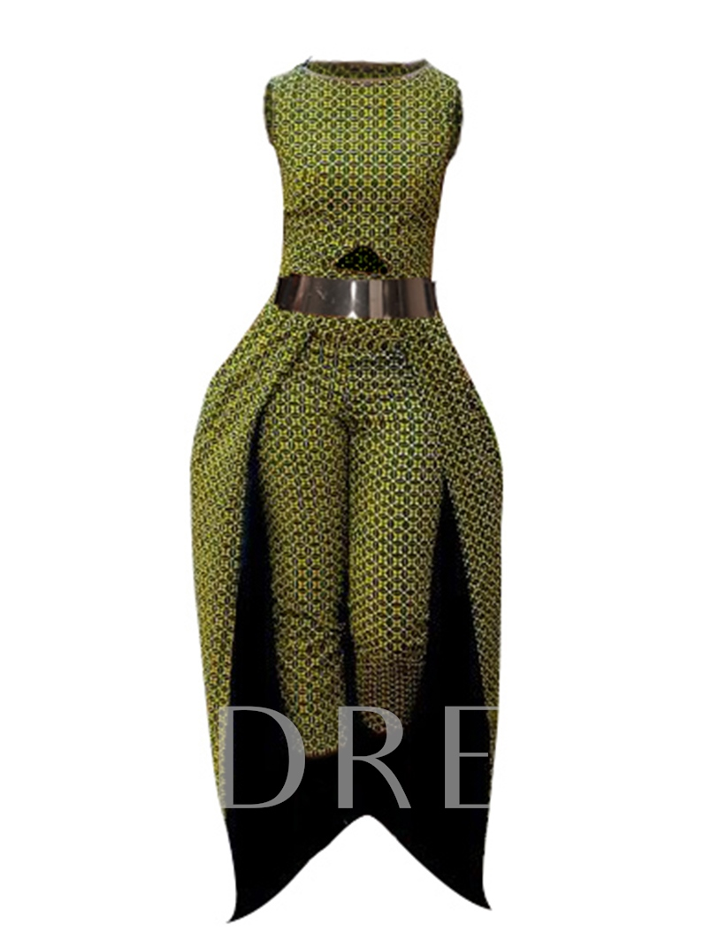 African Print Sleeveless Women's Jumpsuit(without belt)