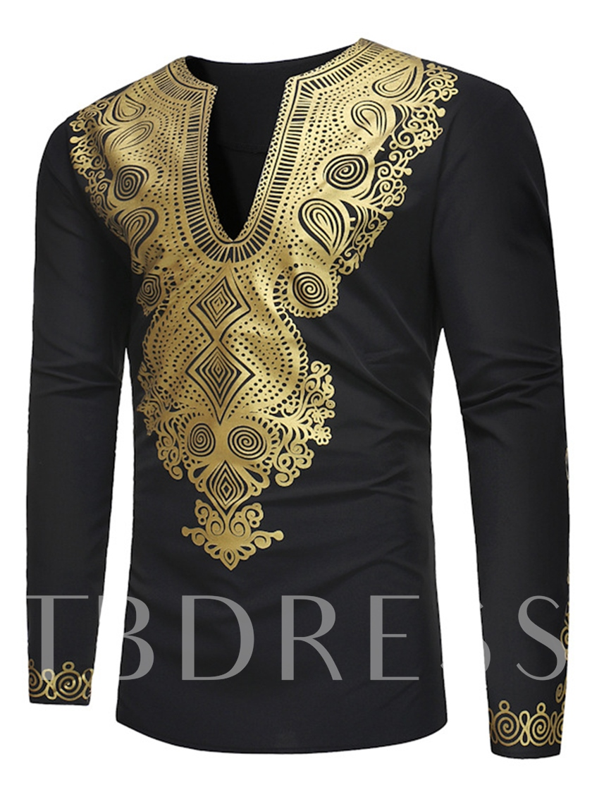 African Fashion Dashiki V-Neck Golden African Print Slim Luxury Men's Shirt