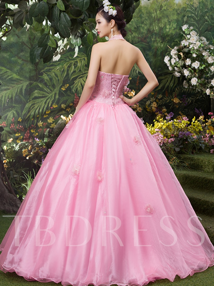 Halter Beading 3D Flowers Sequins Quinceanera Dress