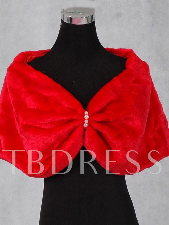 Bowknot Shape Lady's Faux Fur Wedding/Evening Shawl
