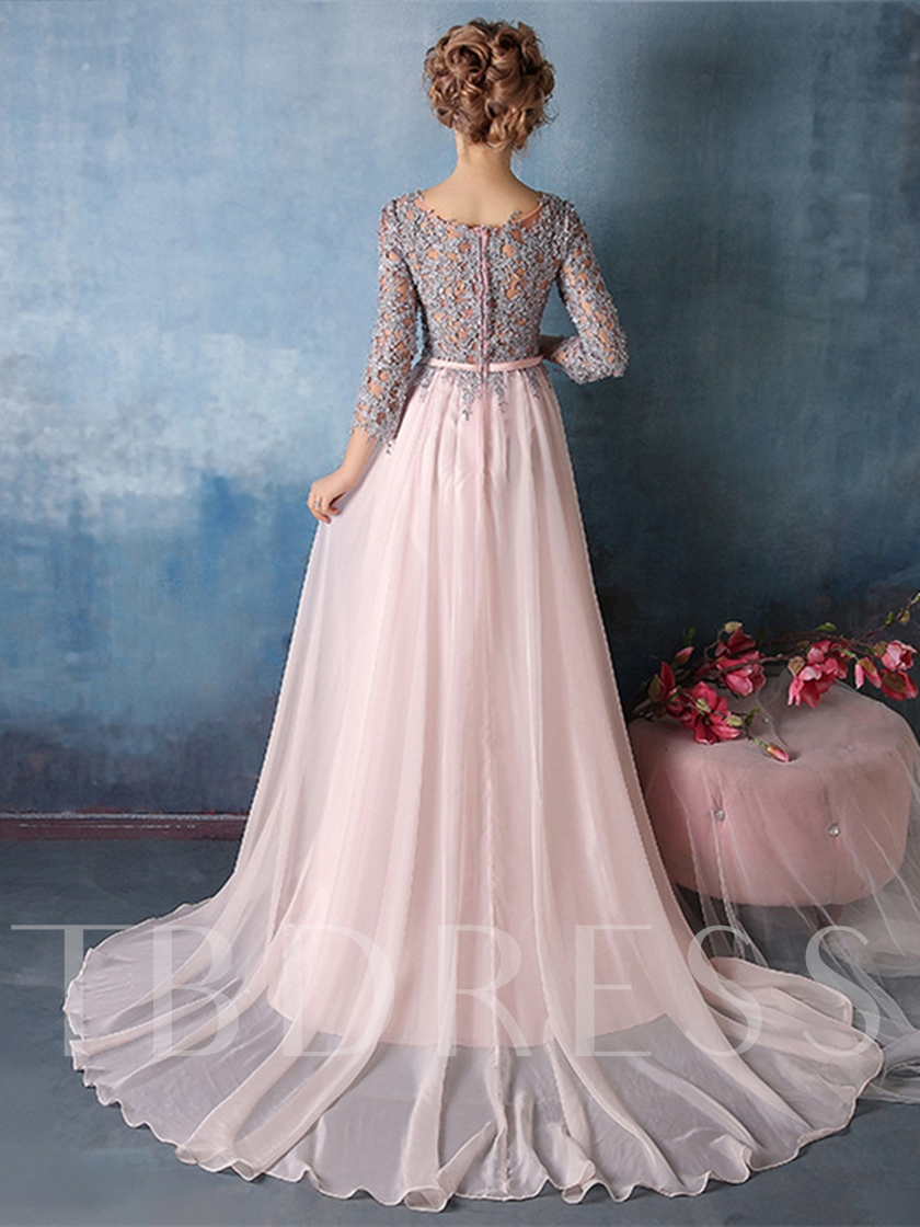 Round Neck Appliques 3/4 Length Sleeves Evening Dress