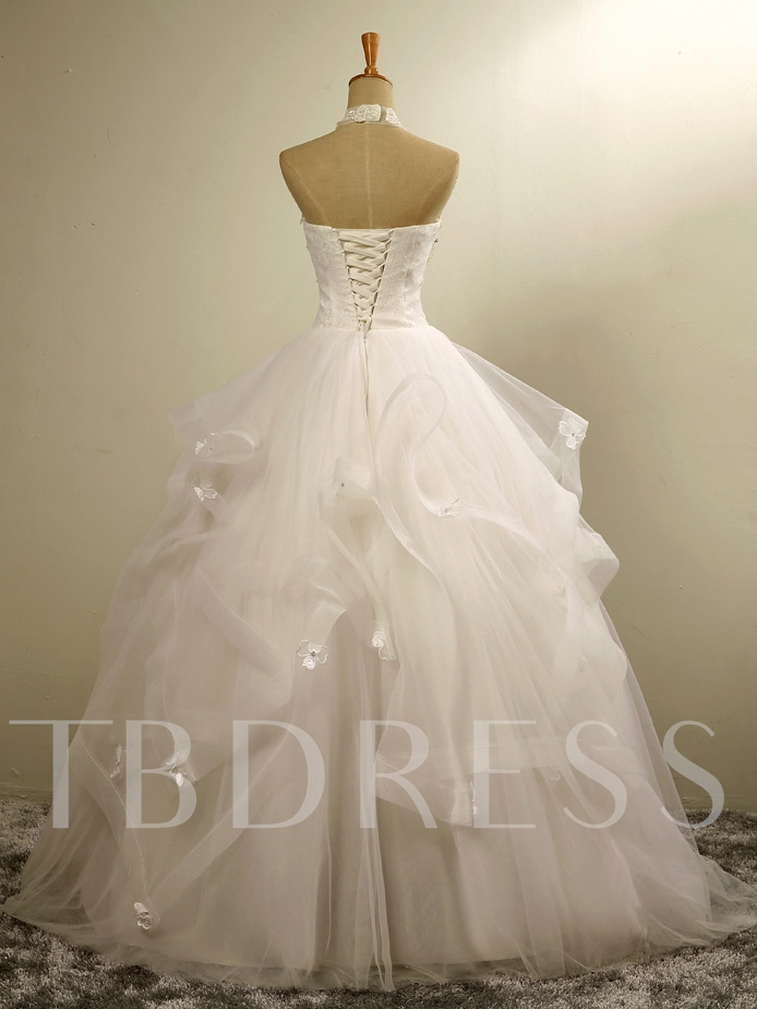 Halter Pearls Appliques Ball Gown Wedding Dress