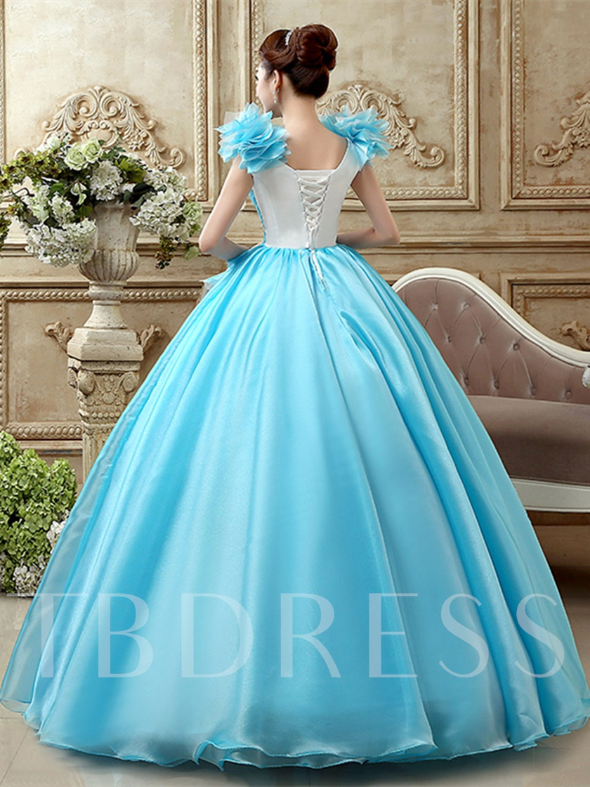 V-Neck Ruched Flowers Appliques Quinceanera Dress