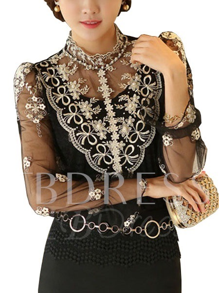 White / Black Embroidery Mesh Long Sleeve Women's Blouse