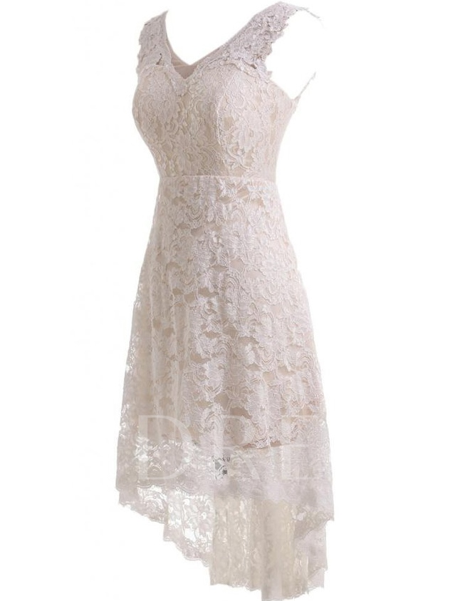 V-Neck High Low Lace Beach Wedding Dress