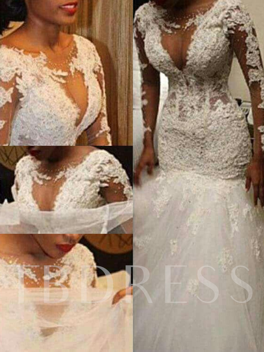 Beaded Appliques Mermaid Wedding Dress with Long Sleeve