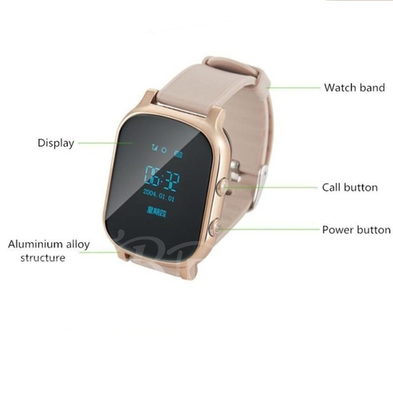 T58 GPS Tracker Smart Watch with SIM-slot/Camera for iPhone Android Phones
