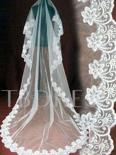 Huge Floral Edge Wedding Veil