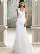 One Shoulder Beading Pleats Beach Wedding Dress