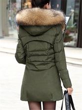 Faux Wool Lapel Stand Collar Zipper Women's Overcoat