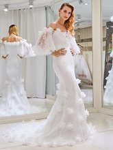 Off the Shoulder 3D Floral Lace Wedding Dress with Sleeve