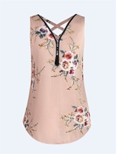 Slim Floral Zipper Up Women's Tank Top